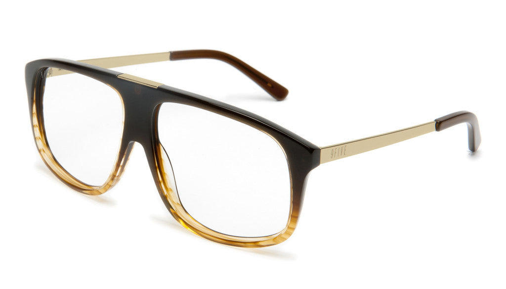 <!--020120612046111-->9five Eyewear - 'Marauders: Brown Fade To Gold Striped (CLEAR LENS)' [(Brown) Sunglasses & Eyewear]