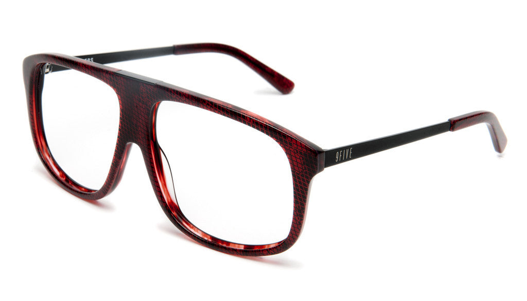 <!--020120612046108-->9five Eyewear - 'Marauders: Red Snake (CLEAR LENS)' [(Dark Red) Sunglasses & Eyewear]