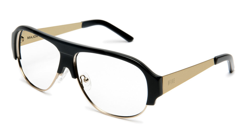 <!--020120612046119-->9five Eyewear - 'Majors II: Black/ Gold (CLEAR LENS)' [(Black) Sunglasses & Eyewear]