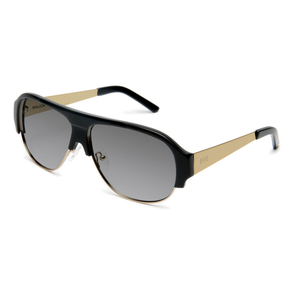 <!--020120710046975-->9five Eyewear - 'Majors II: Black/ Gold' [(Black) Sunglasses & Eyewear]