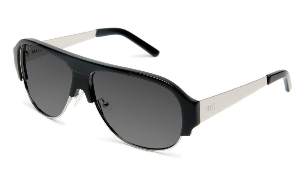 <!--020120612046118-->9five Eyewear - 'Majors II: Black/ Silver' [(Black) Sunglasses & Eyewear]
