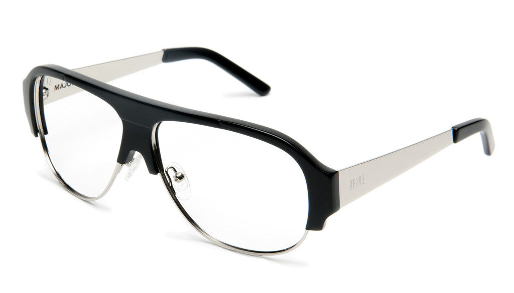 <!--020120612046117-->9five Eyewear - 'Majors II: Black/ Silver (CLEAR LENS)' [(Black) Sunglasses & Eyewear]