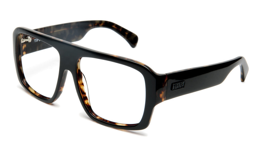 <!--020120612046106-->9five Eyewear - 'Tips: Black/ Olive Tortoise (CLEAR LENS)' [(Black) Sunglasses & Eyewear]