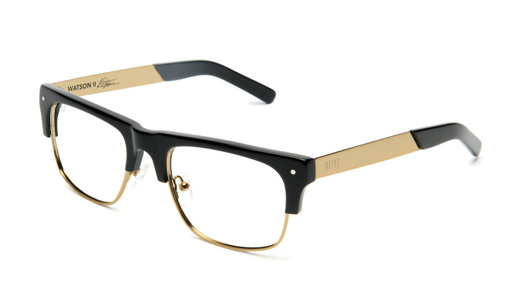 <!--020120612046091-->9five Eyewear x Karl Watson - 'Watson II: Black/ Gold (CLEAR LENS)' [(Black) Sunglasses & Eyewear]