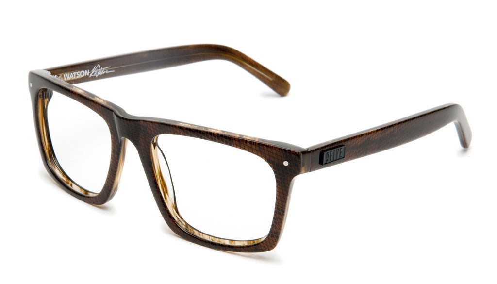 <!--020120612046085-->9five Eyewear x Karl Watson - 'Watson: Brown Snake (CLEAR LENS)' [(Brown) Sunglasses & Eyewear]