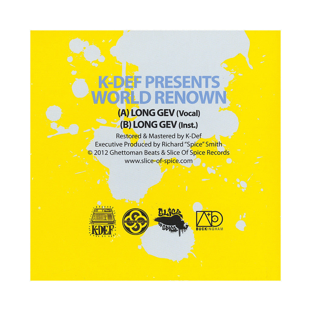 "K-Def Presents World Renown - 'Long Gev (K-Def Signature Sevens Vol. 3)' [(Black) 7"" Vinyl Single]"