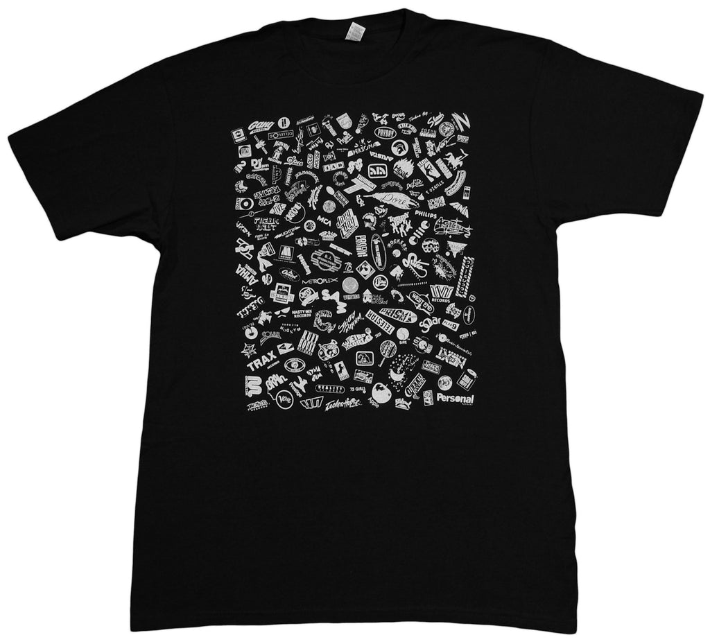 <!--2013042338-->Stones Throw Records - 'Label Logos' [(Black) T-Shirt]