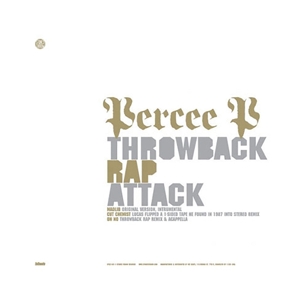 "<!--020061121008702-->Percee P - 'Throwback Rap Attack/ Throwback Rap Attack (Remix)' [(Black) 12"" Vinyl Single]"