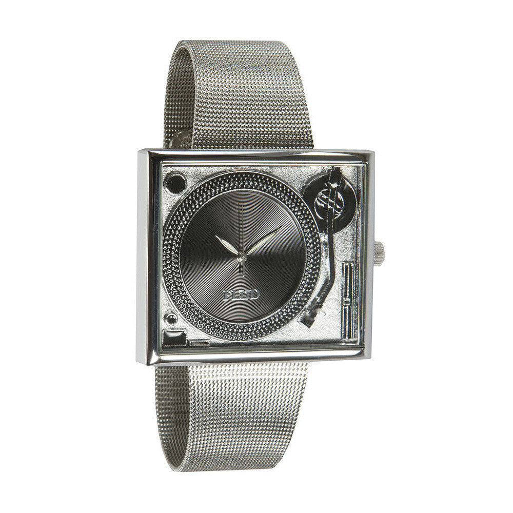 <!--020130917059784-->FLuD Watches - 'Tableturns - Silver/ Black Mesh' [(Silver) Watch]