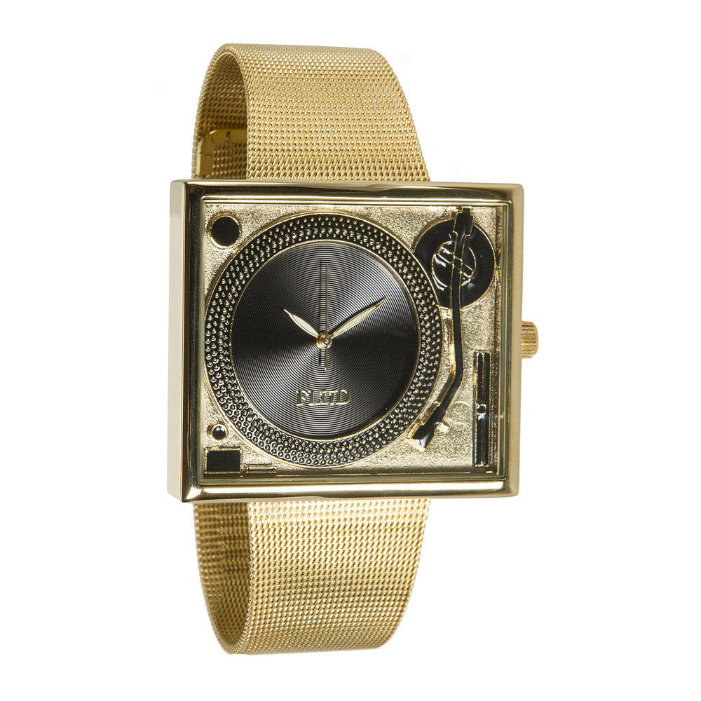 <!--020130917059785-->FLuD Watches - 'Tableturns - Gold/ Black Mesh' [(Gold) Watch]