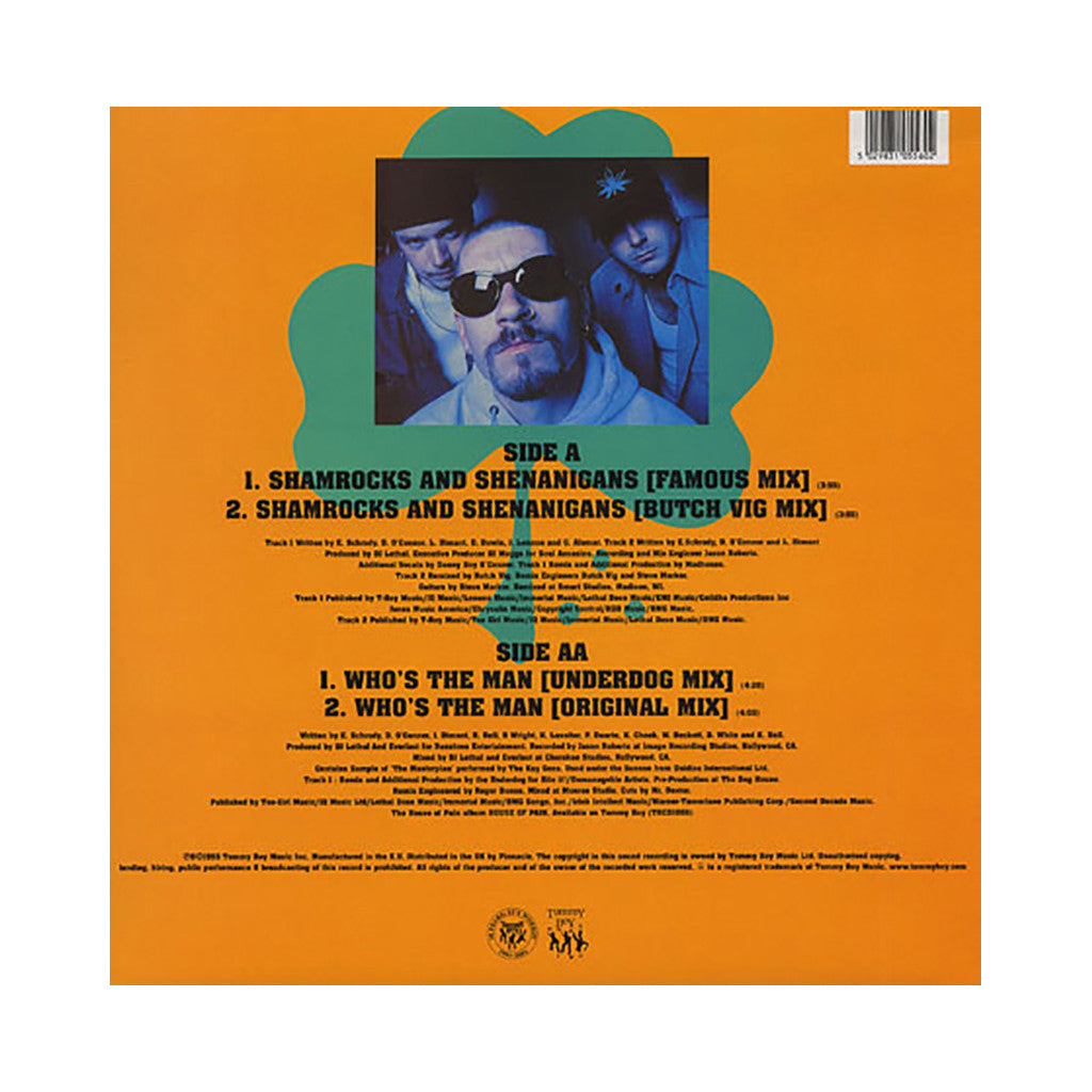 "<!--019920101013188-->House Of Pain - 'Shamrocks And Shenanigans/ Shamrocks And Shenanigans (Remix)/ Who's The Man' [(Black) 12"" Vinyl Single]"