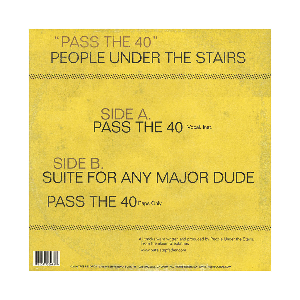 "<!--020060613007580-->People Under The Stairs - 'Pass The 40/ Suite For Any Major Dude' [(Black) 12"" Vinyl Single]"
