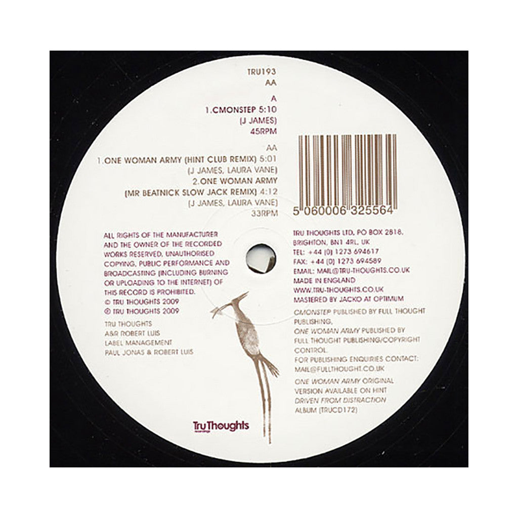"<!--020090526016992-->Hint - 'CMONSTEP/ One Woman Army (Hint Remix)/ One Woman Army (Mr. Beatnick Remix)' [(Black) 12"" Vinyl Single]"