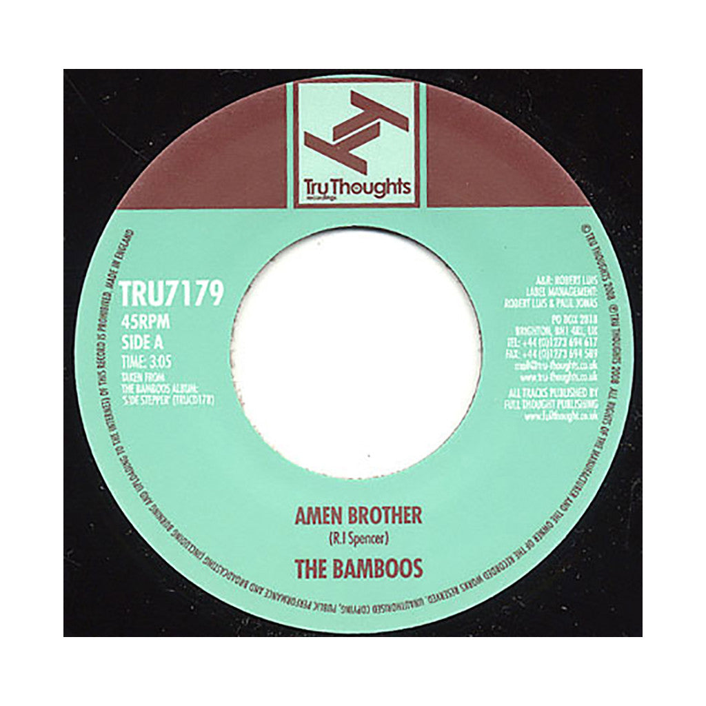 "<!--020081202016351-->The Bamboos - 'Amen Brother/ Tears Cried' [(Black) 7"" Vinyl Single]"
