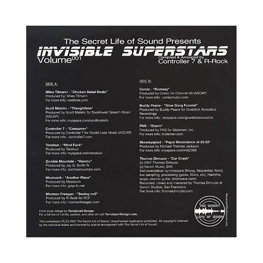 Various Artists (Compiled By Controller 7 & R-Rock) - 'Invisible Superstars Volume 001' [(Black) Vinyl LP]