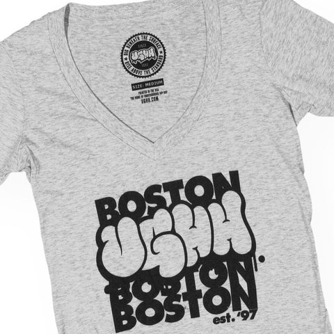 "[""UGHH - 'V-Neck T-Shirt UGHH Graffiti Logo Boston' [(Light Gray) Female T-Shirt]""]"