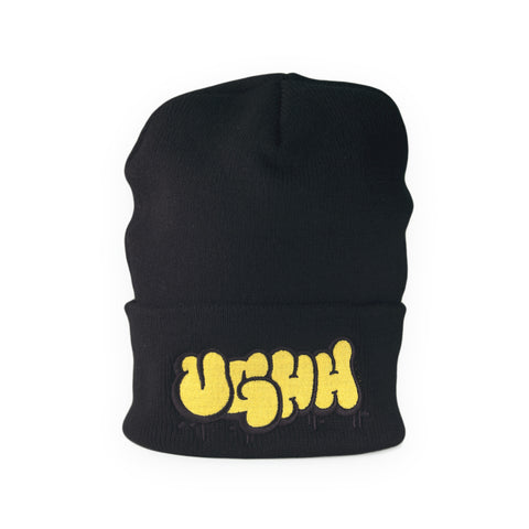 "[""UGHH - 'Beanie Hat Cuffed UGHH Graffiti Logo' [(Black) Winter Beanie Hat]""]"