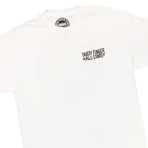 "[""UGHH - 'T-Shirt Records And Milk Crate On Back' [(White) T-Shirt]""]"
