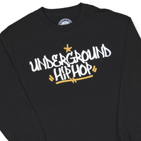 "[""UGHH - 'Long Sleeve Shirt Underground Hip Hop Tag Style' [(Black) Long Sleeve Shirt]""]"