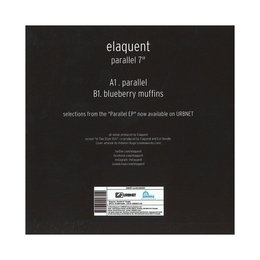 "Elaquent - 'Parallel/ Blueberry Muffins' [(Black) 7"" Vinyl Single]"