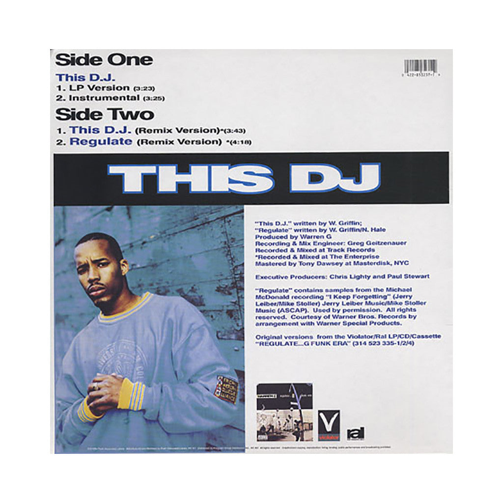 "<!--1994010153-->Warren G - 'This D.J./ This D.J. (Remix)/ Regulate (Remix)' [(Black) 12"" Vinyl Single]"