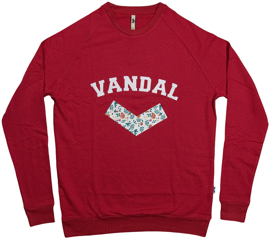 <!--2013102956-->Vandal Collective - 'College Floral' [(Red) Crewneck Sweatshirt]
