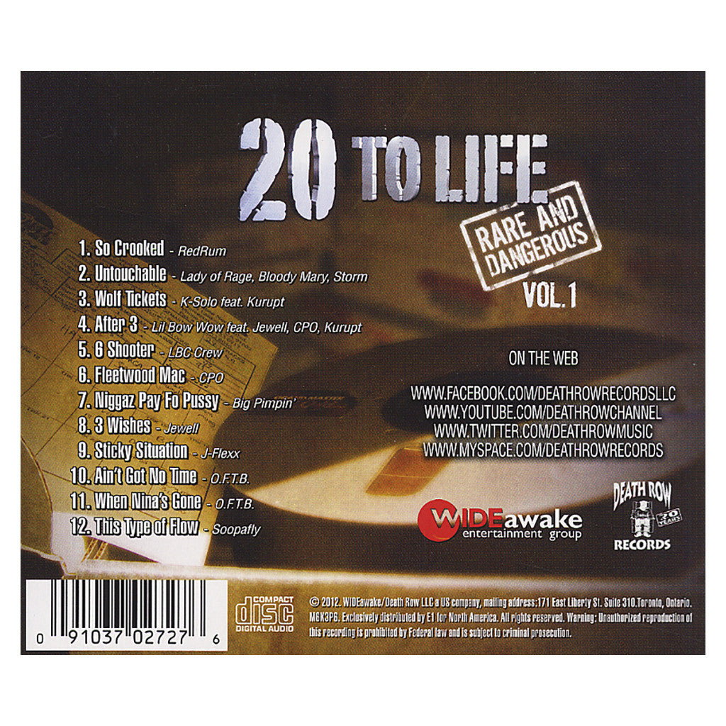 <!--120120508043490-->Various Artists - '20 To Life: Rare And Dangerous Vol. 1' [CD]