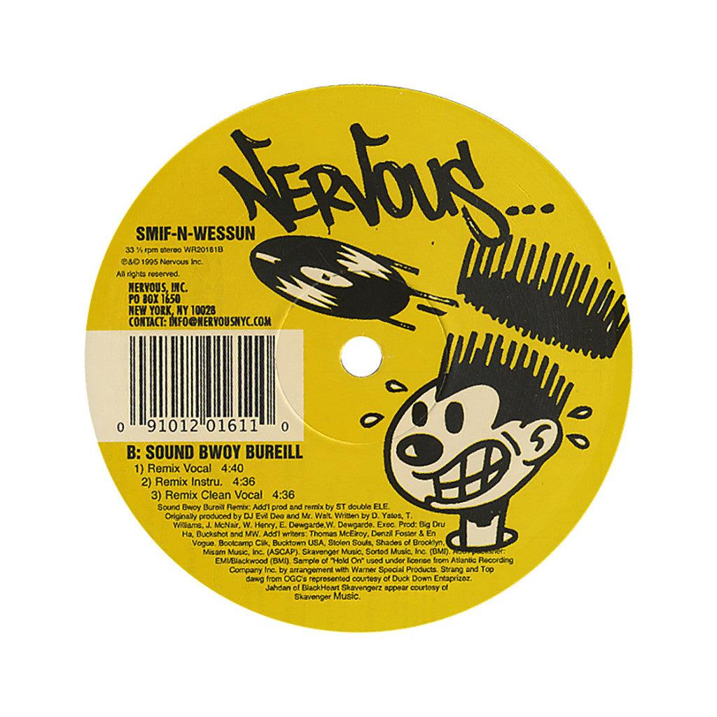 "<!--019950101011574-->Smif-N-Wessun - 'Wrekonize (Remix)/ Sound Bwoy Bureill/ Sound Bwoy Bureill (Remix)' [(Black) 12"" Vinyl Single]"