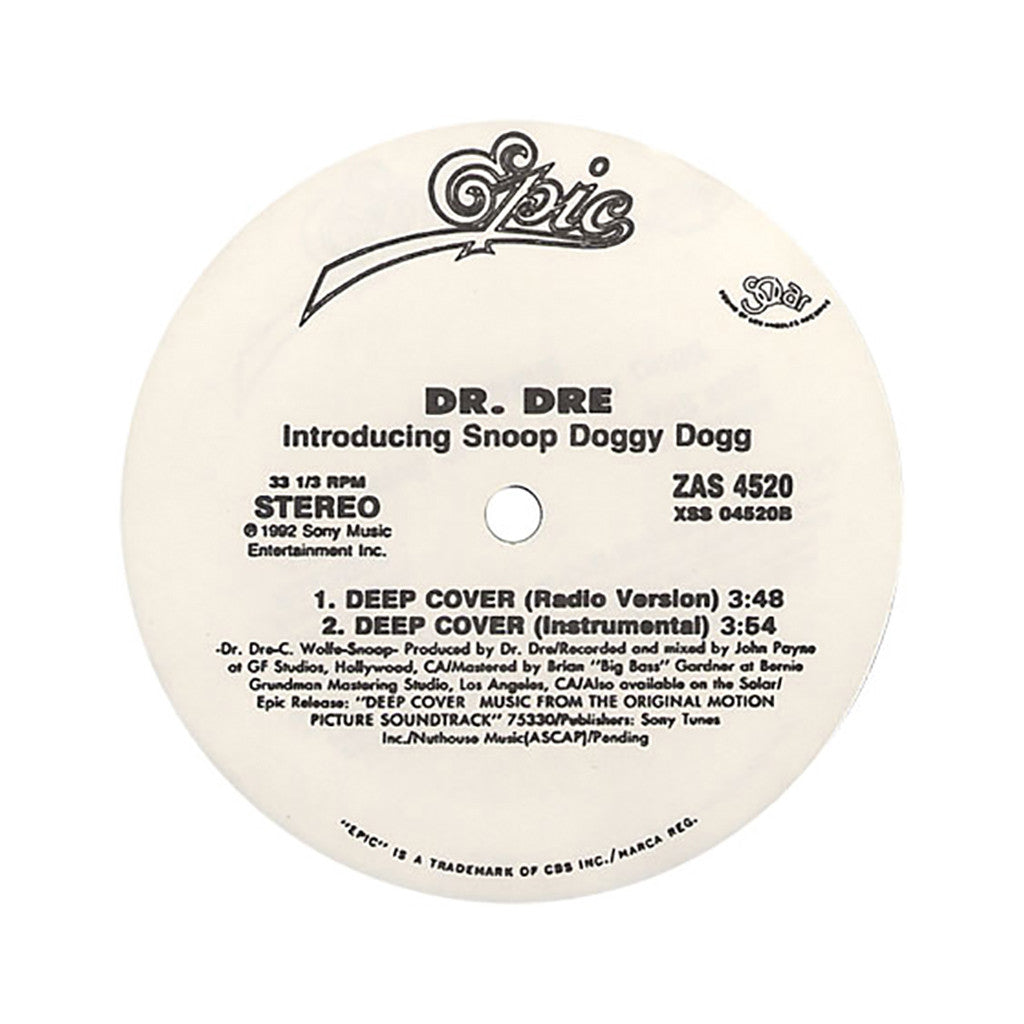 "<!--019920101012278-->Dr. Dre - 'Deep Cover' [(Black) 12"" Vinyl Single]"