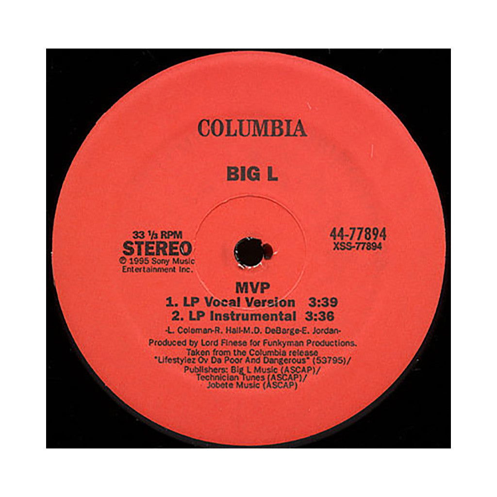 "<!--019950101014665-->Big L - 'MVP/ MVP (Summer Smooth Mix)/ Fed Up Wit The Bullshit' [(Black) 12"""" Vinyl Single]"