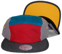 <!--020130618057577-->Mitchell & Ness - 'Color Block - Red/ Teal/ Yellow' [(Gray) Five Panel Camper Hat]