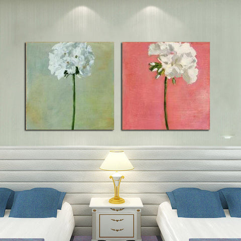 100% Handpainted 2pcs/lot pure flowers white green pink busy spring oil painting on canvas wall art picture home decor