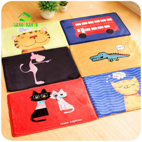 2017 New Doormat 39*59cm Cartoon Cat Dog Dinosaur Bus Bedroom Carpet Bath Mats Super Soft Cartoon Floor Door Mat