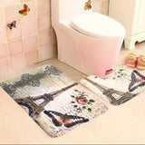 2Pcs Soft Paris Eiffel Tower Bath Pedestal Rug Cover Bathroom Bath Mat Set Household Bathroom Carpets Design Decor Houseware - *FREE SHIPPING*