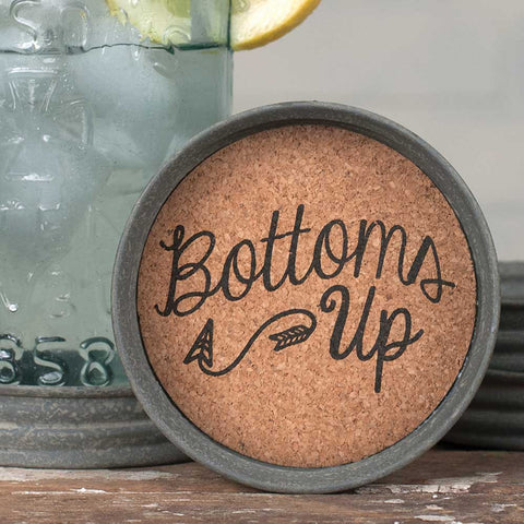 Mason Jar Lid Coaster  - Bottoms Up - SET OF 4 -  *FREE SHIPPING*