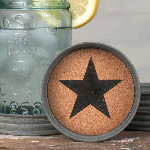 Mason Jar Lid Coaster  -  Star - Set Of 4 - *FREE SHIPPING*
