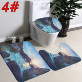 3Pcs/Set Super Soft Flannel Toilet Seat Cover Set 3D Toilet Rug Contour Pedestal Rug Lid Warm Close Stool Carpet Bath Mat Set