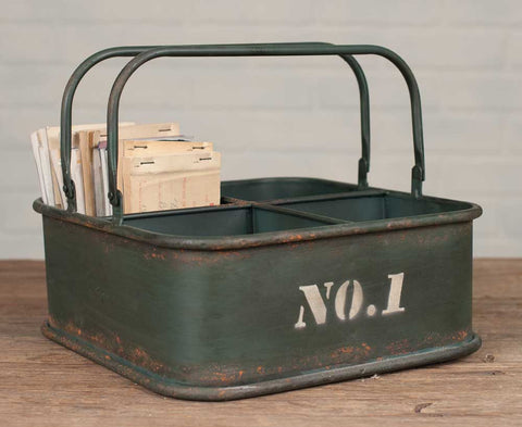 Antique Metal No.1 Square Bin With Four Compartments - *FREE SHIPPING*