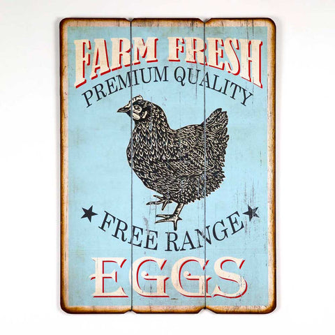Free Range Eggs Wood Wall Sign - *FREE SHIPPING*