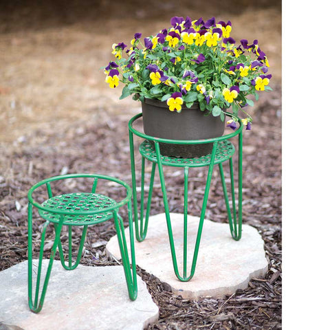 Set of Two Green Plant Stands - *FREE SHIPPING*