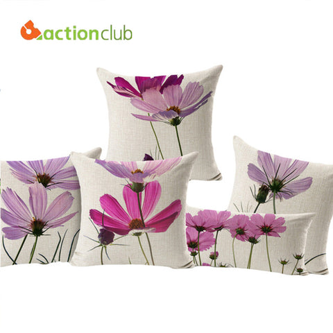 Actionclub Purple Flowers Cushions Home Decor Pillows New 2016 Signature Cotton Cecorative Throw Pillows Decor Pillow HH596