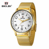 BELBI Top Brand Luxury Men Watch Waterproof Stainless Steel Quartz Watches Fashion Business Calendar Male Wristwatch Gold Clock