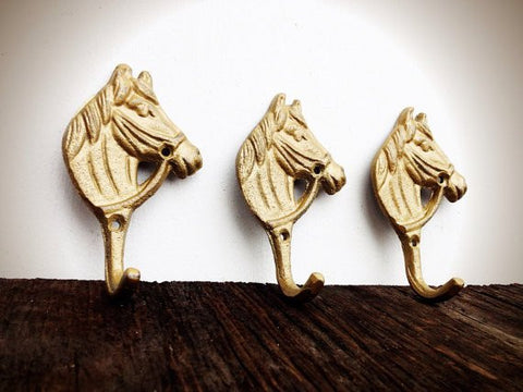 3 LITTLE HORSE WALL HOOKS - SHIMMERING METALLIC GOLD CAST IRON - NURSERY FRENCH COUNTRY - *FREE SHIPPING*