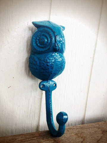 RUSTIC SHABBY CHIC WOODLAND OWL WALL HOOK - LAGOON TEAL BLUE GREEN - *FREE SHIPPING