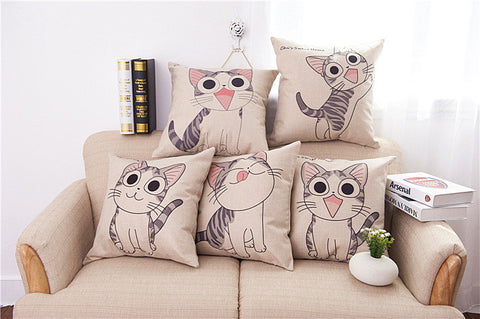 Cat printed Cotton Linen Sofa Cushion Embrace Pillow 45x45cm/17.7x17.7'' Cat Decorative Throw pillow Home Textile Seat Cushion