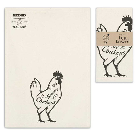 Chickens Beware Tea Towel - SET OF 4 - *FREE SHIPPING*