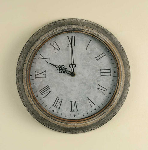 Clock Featuring A  Galvanized Face - *FREE SHIPPING*