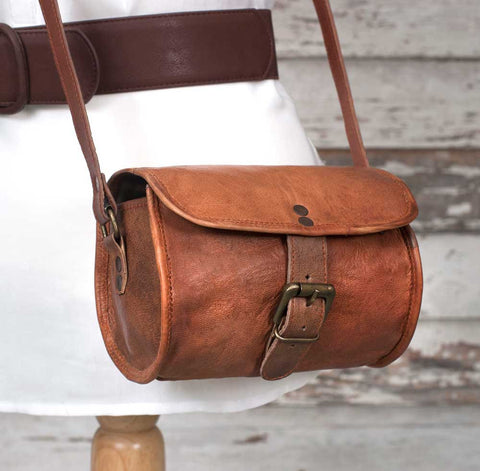 Genuine Leather Crossbody Barrel Bag - *FREE SHIPPING*