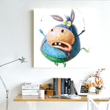 Cute Animal Oil painitng Cartoon Pig Donkey 100% Hand-painted Abstract Painting Unframed Canvas Wall Art Picture Home Decor