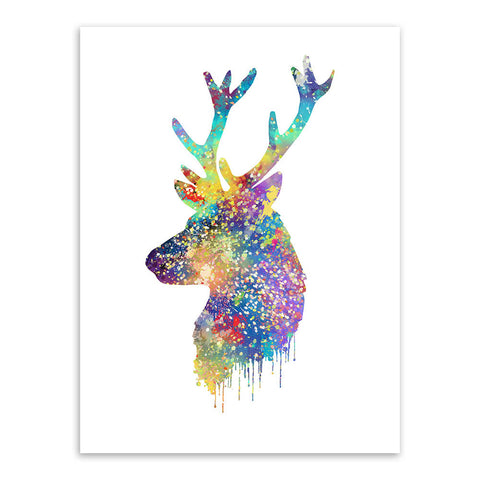 Triptych Watercolor Deer Head Abstract Animal Pictures Canvas Painting No Frames Wall Art - *FREE SHIPPING*